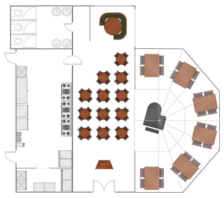 distribución del espacio en un restaurante